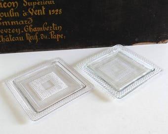 2 Antique Squared Glass Bottle Coasters - Vintage Glass Table Decor