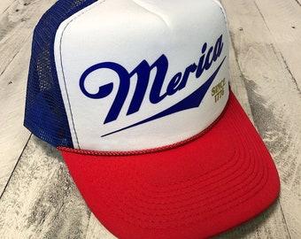 Merica Since 1776...Retro Snapback Trucker Hat ONE SIZE, baseball, yoga, pilates, barre, workout hat