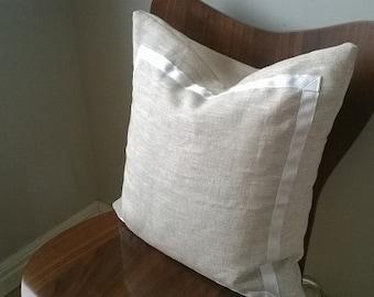 Designer Fabric natural linen white grosgrain ribbon detail toss throw pillow cover cushion neutral beige rustic luxe chic