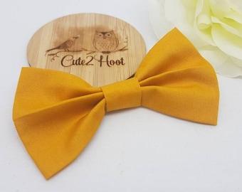 Mustard Hair Bow, Bow headband, hair accessories, nylon headband, baby headband, Hair clips, Girls hair clips, mustard, winter