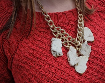 White Raw Stone and Chunky Gold Chain Necklace, One of a Kind, Statement Necklace