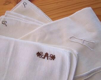 "Vintage 60's ""HAND LOOMED"" Handkerchiefs LOT of 4"