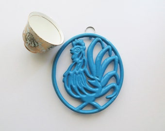 Vintage Blue Cast Iron Rooster Trivet Enamel Wall Hanging Mid Century Kitsch French Kitchen