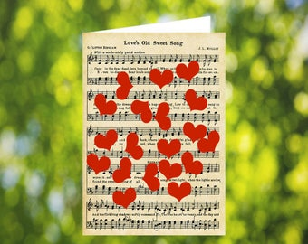 Love's old sweet song sheet music card, Valentine's Day, lots of red hearts, anniversary card