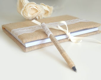 Natural Burlap Guest Book and Pen set for your Rustic Wedding - Cottage Chic Rustic Burlap Lace Guest Book and Pen Set