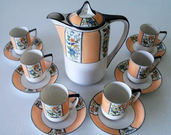 Noritake Japan Set Of Six Demitasse Cups & Saucer and Coffee Pot