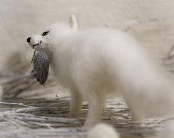 Polar fox Arctic fox white fox cute plush gift home decor fluffy fox doll miniature figurine gift for her