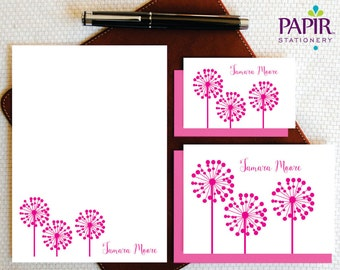 Personalized Stationery Set Personalized Stationary DANDELION Note Cards and Notepad Custom Stationery Set Personalized Gift for Her GCS008