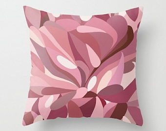 Pink Pillow Cover, Throw Pillow Cover, Abstract Pillow, 16x16 18x18 20x20 24x24 26x26 36x36, Art Pillow, Cushion Cover, Couch Pillow