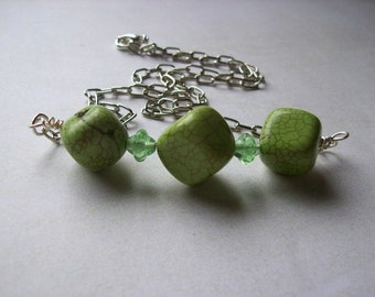 Lime green necklace. Dyed turquoise nugget necklace.