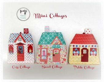 Mini Cottages, Paper piecing Ornament/Sachet Pattern