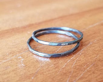 Oxidized Sterling Silver Faceted Stackable Rings