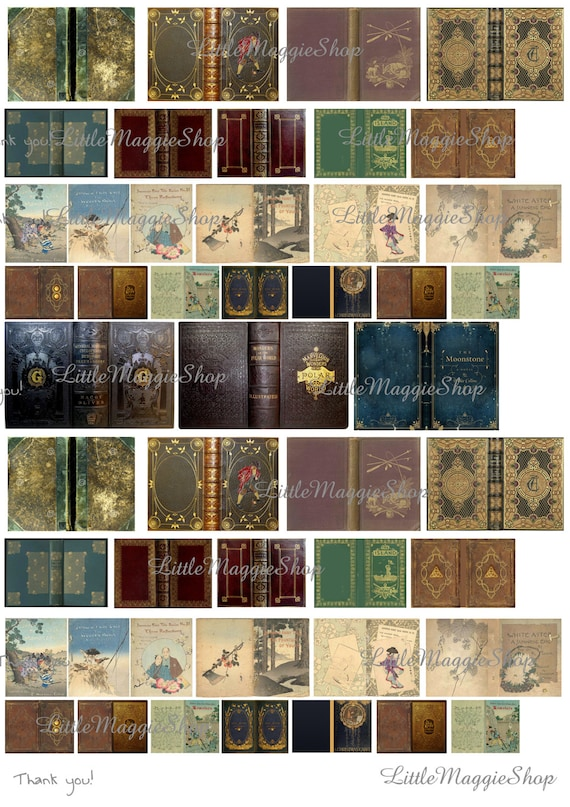 Book Cover Printable Uk : Vintage magic book covers set scale downloadable