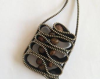 Zipper Necklace - Ceramic Beads - Zipper Jewelry