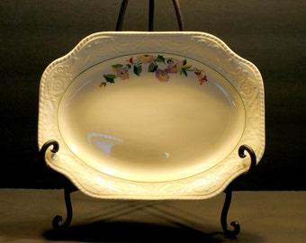 Platter, Vintage Embossed Floral Platter, 1940's Embossed Platter, Oval Floral Platter, Serving Plate, Vintage Tableware