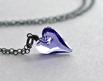 Crystal Heart Necklace Swarovski Tanzanite Purple Valentines Day Gift for Her Heart Pendant Necklace Oxidized Goth Canadian Seller
