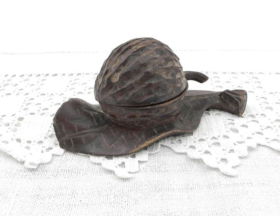 Antique Carved Wooden Black Forest Artisan Walnut and Leaf Shaped Inkwell, Retro Collectible Primitive Wood Sculpted Nut 19th Century Curios