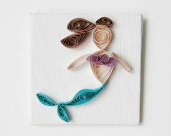 Mermaid Magnet, Paper Quilled Mermaid, Mermaid Magnet, Mini Mermaid Magnet, Mermaid Decor, Mermaid Nursery Decor, Mermaid Magnet Cute Fun