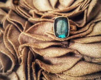 silver ring 925 Dendrite and labradorite