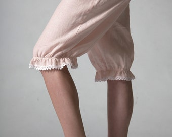 Linen Bloomers for  Woman Knee Length Pantaloons/ Linen Cropped Trouser
