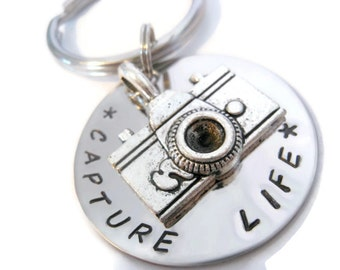 Photographer GIFT: Capture Life Keychain, Hand Stamped Key chain for Women or Men photographers from Moonstone Creations