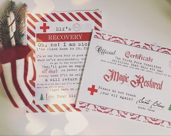 Christmas Elf Recovery Kit! Certificate of Wellness and Sick Letter if Touched Lost Magic Printable - INSTANT Downloadable Printable PDF!