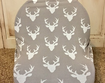 Buck Forest Mist Car Seat Canopy, Nursing Cover, Shopping Car Cover & Scarf