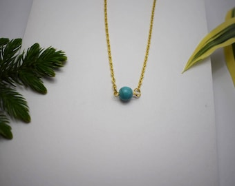 Turquoise Necklace, Natural Turquoise necklace, Dainty Gold Necklace, Real Turquoise Necklace, Gift for Girlfriend, Minimalist Necklace