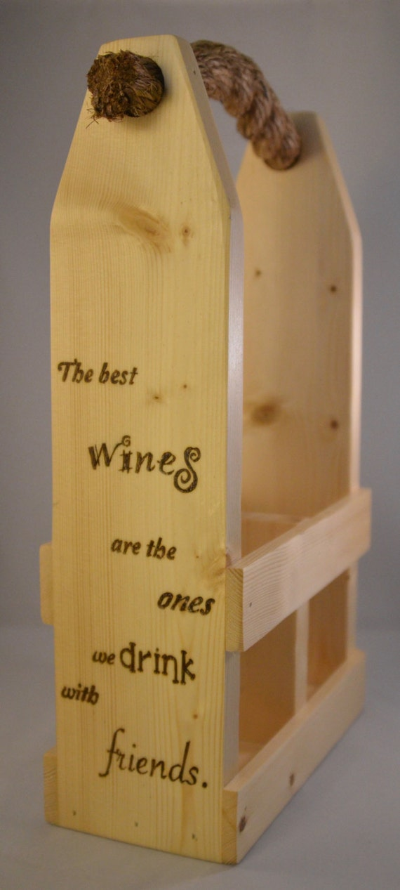 "Wine Caddy - 2 Bottle - ""Wine & Friends"""