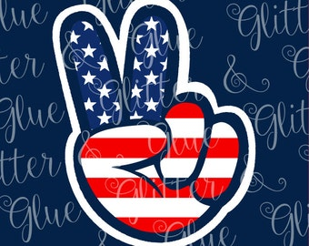 Patriotic Flag Peace Sign Hand SVG File