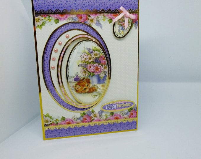 Floral Bouquet And Kitten, Kitten Card, Ginger Kitten, Pink And Purple, Mum Card, Sister Card, Card For Daughter,