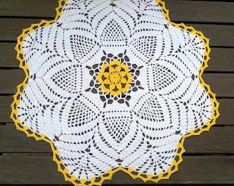 White/ Yellow crochet doily