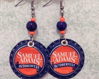 Upcycled Samuel Adams Octoberfest Beer Cap Earrings, beerings