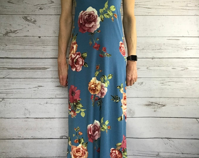 Racerback Maxi Dress - Blue Full Length Dress - Feminine and Flirty Floral Sundress - Lightweight No Sleeve Summer Wedding Guest Dress Style