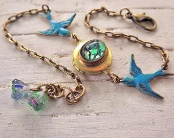 Bluebird Bracelet ~ Yellow Rose ~ Green Opal ~ Bird Bracelet ~ Small ~ Bird Jewelry ~ by WakesTheDawn