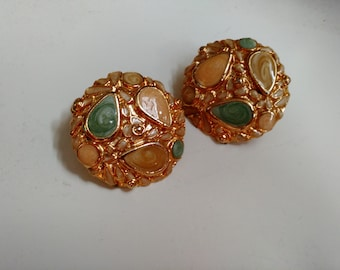Sale! Vintage Gold Clip-On Earrings w/Enamel Detail