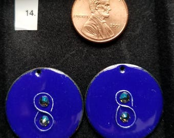Enameled Earring Components -cobalt blue w/ green crystals
