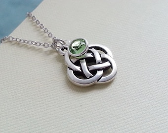 Celtic Knot Necklace. Swarovski Birthtone. Personalised Necklace. Silver Eternity Knot Charm. Celtic Knot Pendant.