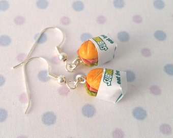 Miniature Subway Sandwich Earring with Silver Plated or Sterling Silver your choice