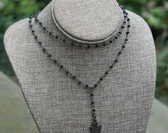 Double Y-drop Rosary Necklace with Pendant