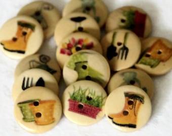 12 Garden Print Buttons - 18mm Wood Buttons - Round Wooden Button - Garden Tools - Garden Flowers - Wheelbarrow - PW87
