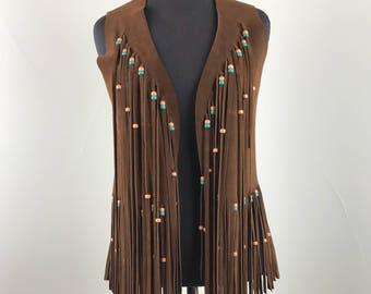 Vintage 1960s Suede Fringe Beaded Hippie Vest