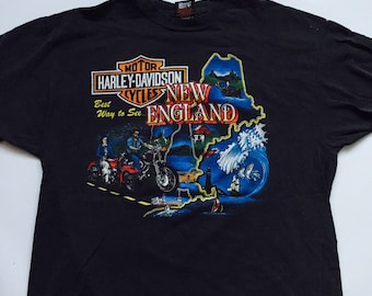 """Harley Davidson Motorcycle New England  """" Best Way To See """" Manchester N H Vintage Faded T-Shirt  Patriots Moose Fish 50% Off Sale"""