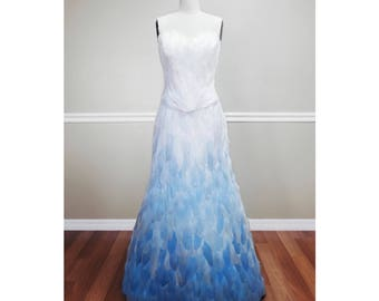 White Blue Ombre Feather Couture Skirt
