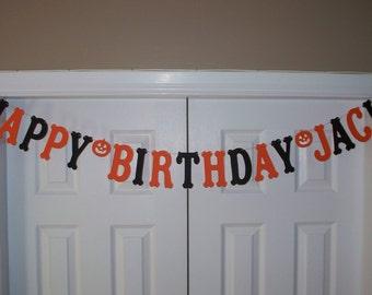 HAPPY BIRTHDAY PERSONALIZED Name Letter Banner - Orange & Black Cardstock Paper - Pumpkin - Jack O Lantern Garland - Wall Decor