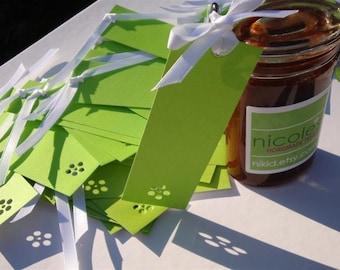 Flower Power Bookmark Tags - Set of Twenty Five (25) Custom Logo Mini Art Cards - Lime Green, Shadow Art DDOTS