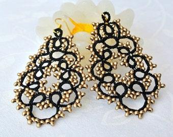 Black and gold chandelier tatted earrings | beaded earrings made in Italy | black lace jewelry| frivolite | lightweight earrings