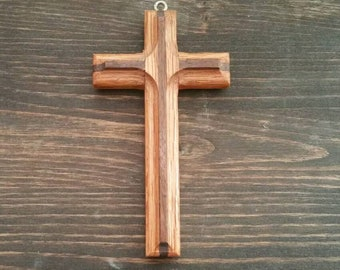 Hand carved Small Cross wall hanging or Necklace