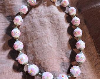 Veintage Venetian Wedding Cake beaded necklace