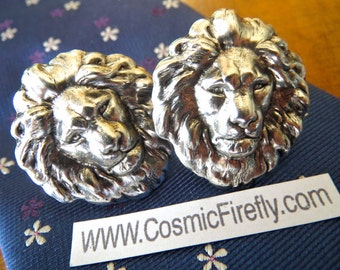 Silver Lion Cufflinks Men's Cufflinks Vintage Inspired BIG Cufflinks Gothic Victorian Safari Animal New Statement Cufflinks Made In USA NEW